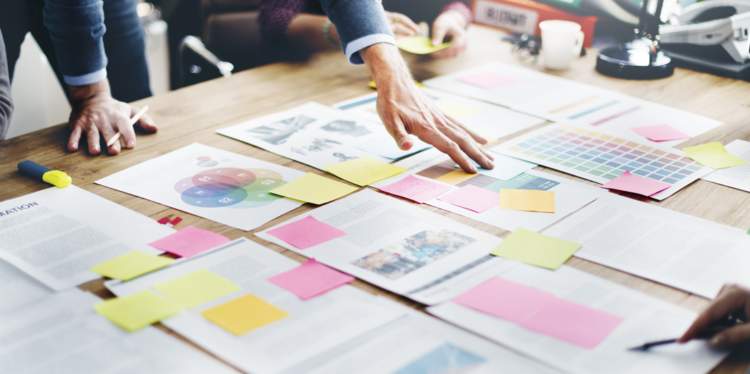 Paper on Table with sticky notes
