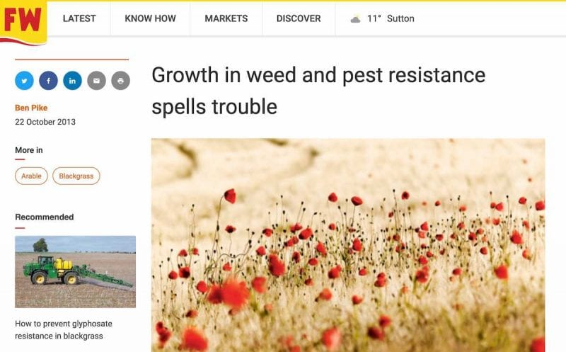 Ben Pike's first ever Farmers Weekly article in October 2013